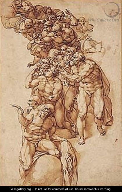 Pen And Brown Ink And Wash - Michelangelo Buonarroti