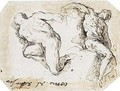 Studies Of Two Male Nude Figures - Jacopo d'Antonio Negretti (see Palma Giovane)