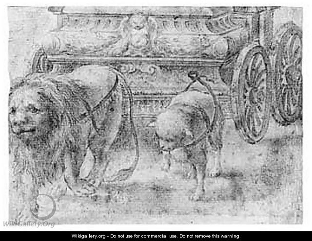 A lion and a lamb, walking before a chariot - Parmese School