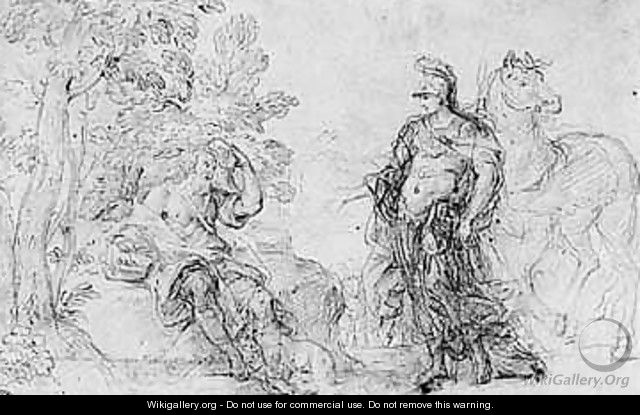 Studies for a composition of erminia seeking shelter with a shepherd - Roman School