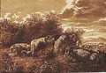 Sheep At Rest In A Landscape - Jan de Bisschop