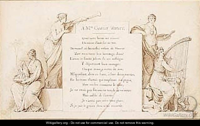 Design For A Title Page Allegorical Figures Of The Arts And A Dedication To Mademoiselle Camille Vernet - Jean-Michel Moreau