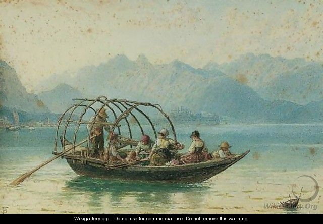 The Ferry Boat, Lake Como - Myles Birket Foster - WikiGallery org