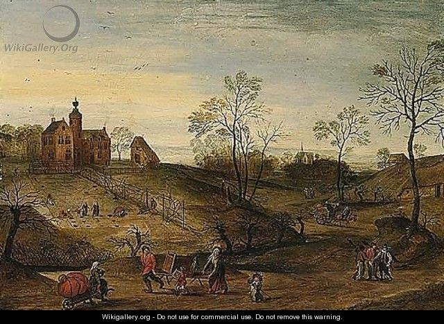 Spring - An Extensive Landscape With A View Of A Country-house With Figures Planting, Travellers On A Road In The Foreground - Jacob Grimmer