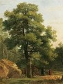 A Wooded Landscape With Travellers Resting Beneath A Tree - Jean-Victor Bertin