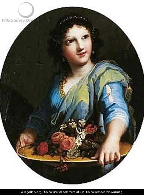 A Young Woman Holding A Basin Of Flowers - Jacques Stella