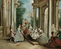 Children with their nurse playing on a hobby-horse on a terrace - Philipe Mercier