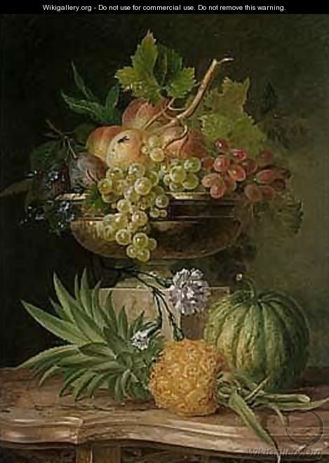 Still Life Of Peaches, Grapes And Plums In A Sculpted Urn On A Pedestal, With A Pineapple And A Melon, All Resting On A Marble-topped Commode - Willem van Leen