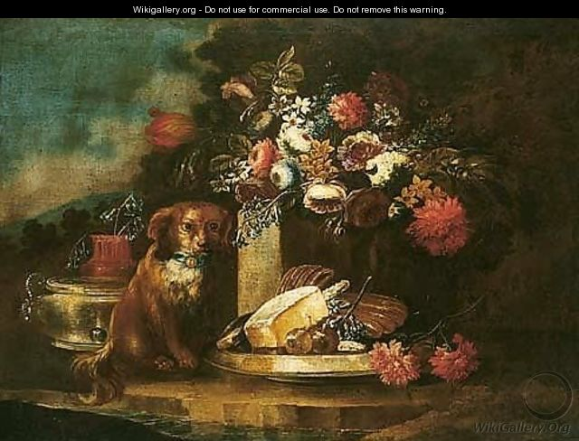 Still Life With Flowers And A Dog With A Dish Of Sweetmeats And Figs In A Garden Setting - (after) Gasparo Lopez