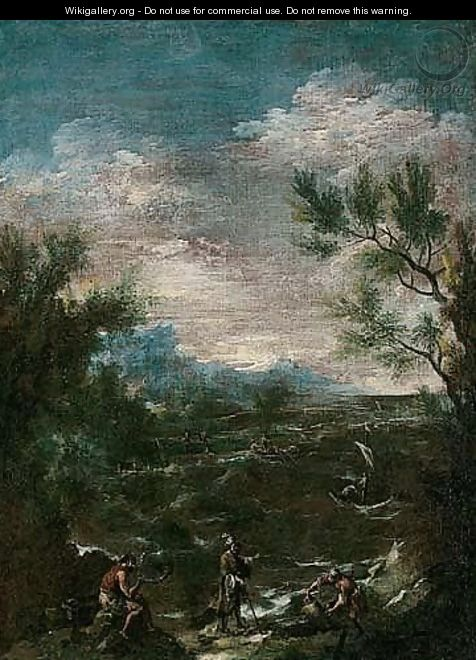 A coastal landscape with a turbaned man and other figures in the foreground - (after) Alessandro Magnasco