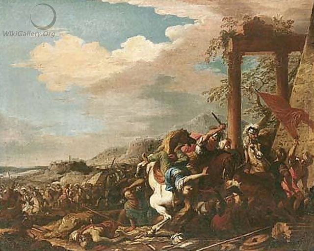 A cavalry battle between christians and turks, before a hill-top town - Salvator Rosa