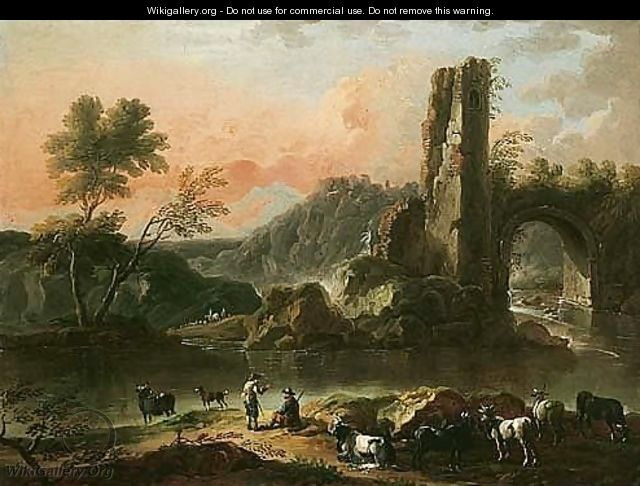 A River Landscape With Herdsmen Watering Their Cattle, A Ruined Arch Beyond - Cajetan