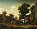 A Horseman And Various Figures Standing Outside A Tavern - Barend Gael or Gaal