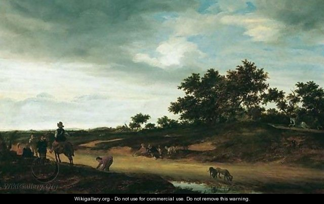 An Open Landscape With Figures Resting By The Roadside With Two Hunting Dogs Drinking Before A Pool Of Water - Jacob Salomonsz. Ruysdael