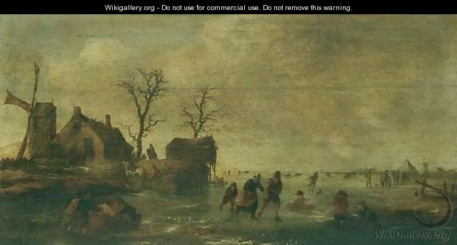 A Winter Landscape With Skaters And Other Figures On A Frozen River Beside A Windmill And Cottages - (after) Claes Molenaar (see Molenaer)