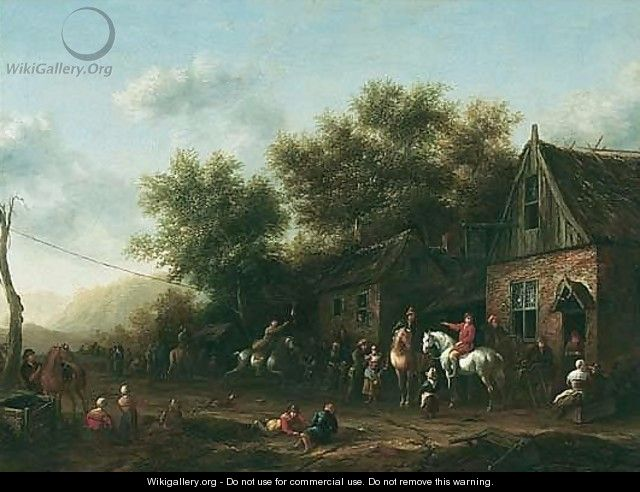 Figures And Sportsmen Gathered Outside An Inn Playing Ganstrekken - Barend Gael or Gaal
