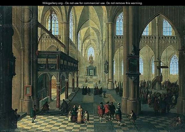 The Interior Of A Cathedral With Figures Attending A Sermon - Peeter, the Younger Neeffs