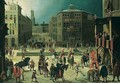 A Scene In A Town With A Tournament, Jousters And Acrobats Performing Before An Audience - (after) Louis De Caullery