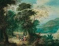 A Wooded Landscape With Venus And Adonis - Jasper van der Laanen