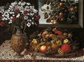 Still Life Of Apples, Pears, Grapes, Plums And Figs On A Parcel-gilt Platter, Together With A Sculpted Gilt Ewer Containing A Bouquet Of Carnations And Narcissi, Upon A Table - Tomas Hiepes