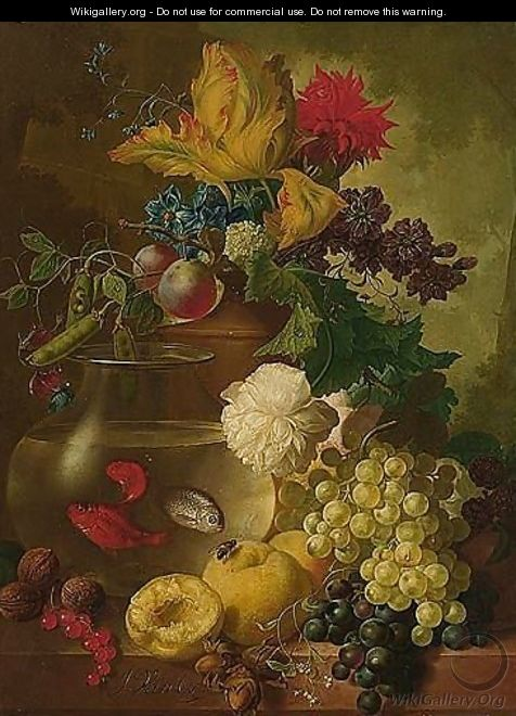 Still Life Of Fruit And Flowers, Together With Walnuts And Hazelnuts, A Bird