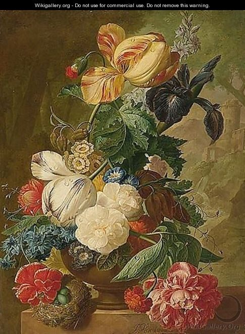 A Still Life Of Flowers, Including Tulips, A Delphinium And An Iris In A Stone Vase, A Bird