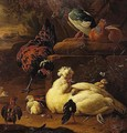 Still Life Of Bantams And Pigeons In A Classical Landscape, A River Beyond - Melchoir D'Hondecoeter