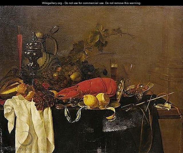 A Still Life With A Lobster, Fruit, Lemons, A Porcelain Jug, Pewter Vessels And A Facon-de-venise Wine-glass, All On A Table Draped In Green Velvet - Jan Davidsz. De Heem