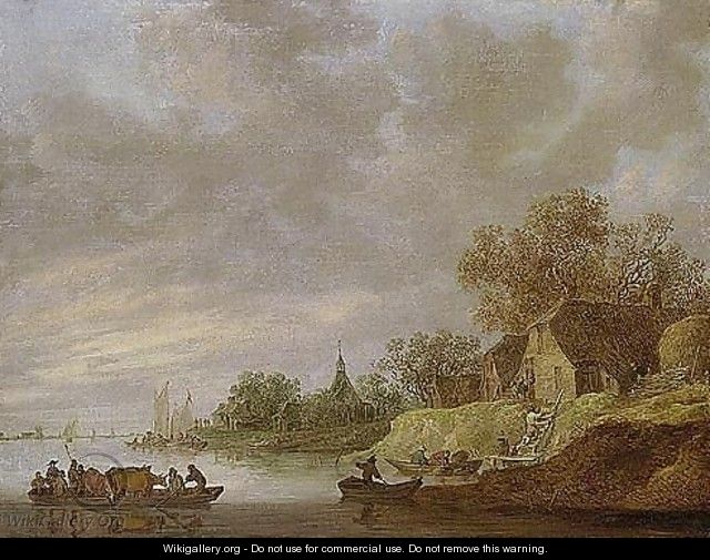 A River Landscape With A Ferryboat Approaching A Village - Jan van Goyen