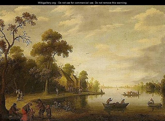 A River Landscape With Fishermen, Beggars On A Track And A Horse-drawn Cart Stopped Outside An Inn Beyond - Joost Cornelisz. Droochsloot
