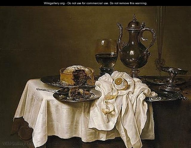 Still Life With A Roemer, A Silver Tazza, A Knife And A Sliced Lemon On A Pewter Plate, A Pie On A Pewter Plate, A Flute, Wine-glass And A Silver Pitcher, Together With A Lemon, All Arranged On A Table - Willem Claesz. Heda