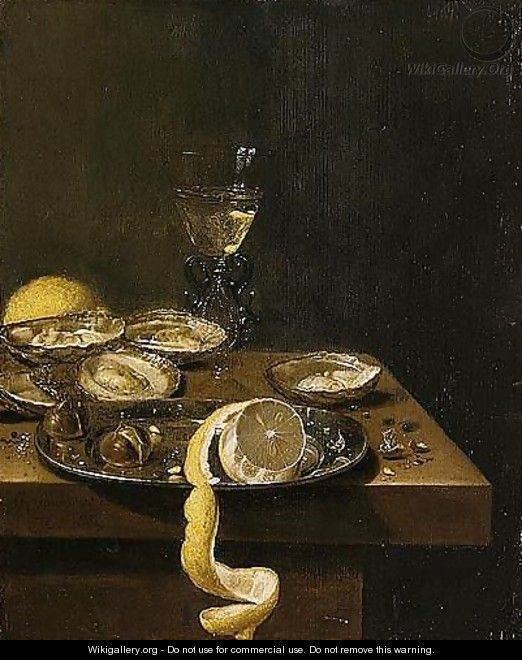 A Still Life Of A Peeled Lemon With Chestnuts Upon A Pewter Dish, Together With Oysters, A Wine-glass And A Lemon, All Upon A Table-top - Jan Jansz. Van De Velde