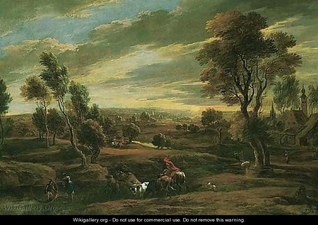 An extensive landscape at sunset with a herdsman driving his cattle across a ford - (after) Sir Peter Paul Rubens