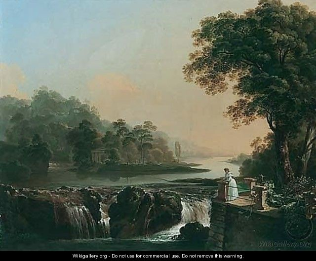 A River Landscape With A Young Girl Standing On A Terrace Overlooking A Waterfall, A Classical Temple On An Island Beyond - Johann Jacob Biedermann