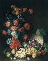 A Still Life Of Flowers In A Terracotta Vase, Wtih Grapes And Figs Spilling Over From An Upturned Bowl - Tommaso Realfonso