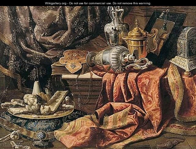 Still Life Of Gilt And Silver Ewers, A Mirror, A Chest, Sweetmeats On A Gilt Platter And Embroidered Cloths - Francesco (Il Maltese) Fieravino
