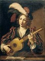 A figure of a youth playing the guitar - (after) Claude Vignon