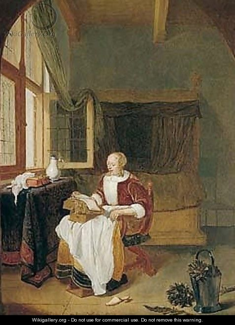 An Interior With A Woman Reading By An Open Window - Quiringh Gerritsz. van Brekelenkam