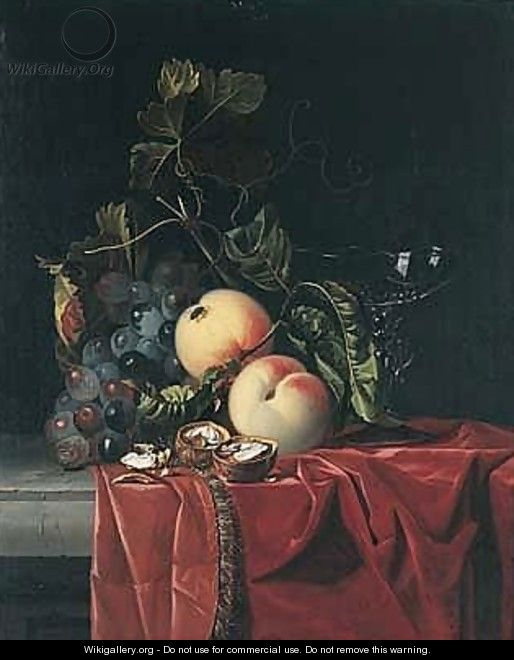 A Still Life Of Grapes, Peaches, Walnuts And A Wine Glass Upon A Ledge Draped With A Red Cloth - (after) Isaak Denies