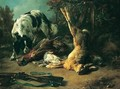 A Hunting Still Life With A Hound Sniffing Some Dead Game, Including A Male Pheasant, A Grouse And A Hung Hare, A Shotgun Lying Nearby - Jacques-Raymond Brascassat