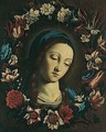 The Head Of The Virgin Surrounded By A Garland Of Flowers - (after) Giovanni Battista Salvi, Il Sassoferrato