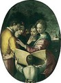 Various figures gathered around a small boy holding up a book - North-Italian School