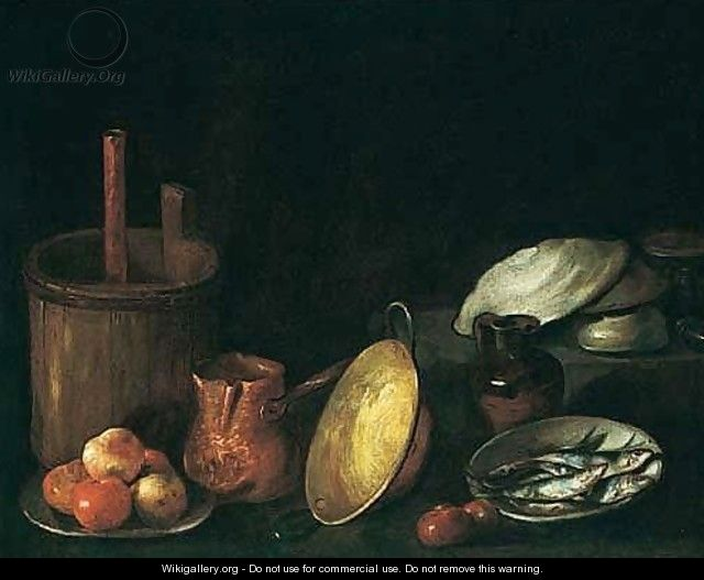 A still life of apples on a plate sardines in a bowl and for Kitchen utensils in spanish