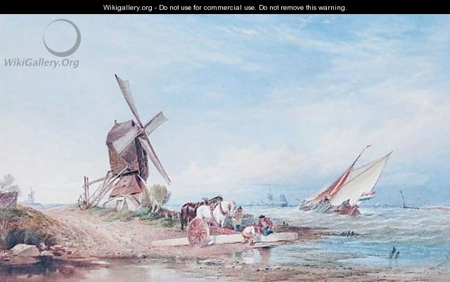 Figures And Cart Horses By A Windmill On The Dutch Coast - Thomas Sewell Robins