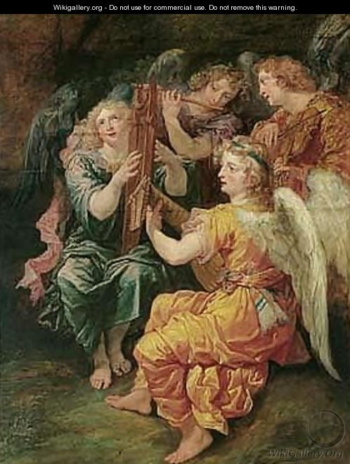Music-making Angels Playing The Harp, Flute, Viola And Lute - Theodor Van Thulden