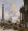 A Mediterranean Harbour Scene With Turbanned Figures On A Quay - Abraham Storck