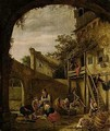 A Courtyard Scene With Peasants Slaughtering A Pig - Jan Havicksz. Steen