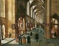 The Interior Of A Cathedral With Elegant Figures - Abel Grimmer