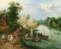 A View Of A Riverside Village With Fishermen And Travellers On A Path - Theobald Michau