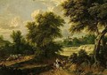 Classical landscape with a waggon train - Pieter Bout